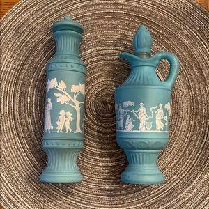 Avon Vintage Blue & White Jasperware Bottles